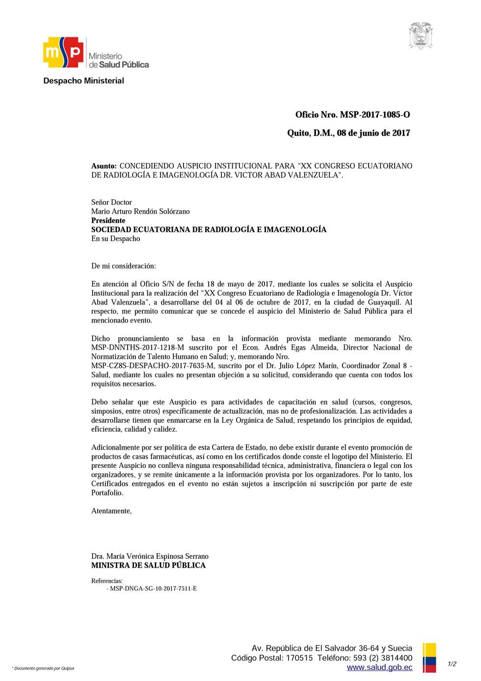 Aval Institucional del Ministerio de Salud Pública