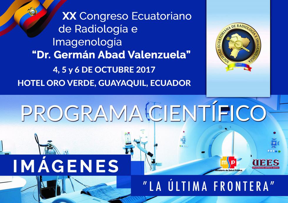 """Programa Científico del XX Congreso Ecuatoriano de Radiología e Imagenología """"Dr. Germán Abad V"""