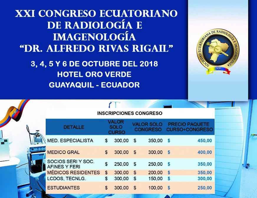 Precio para las Inscripciones del XXI Congreso Ecuatoriano de Radiología e Imagenología
