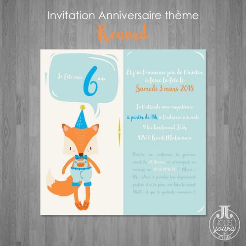 invitation anniversaire renard