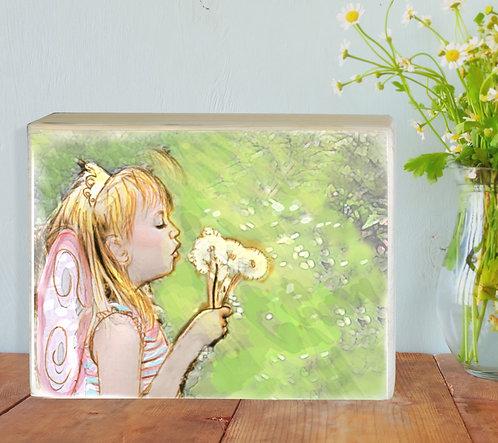 Girl custom color illustration print on wood block