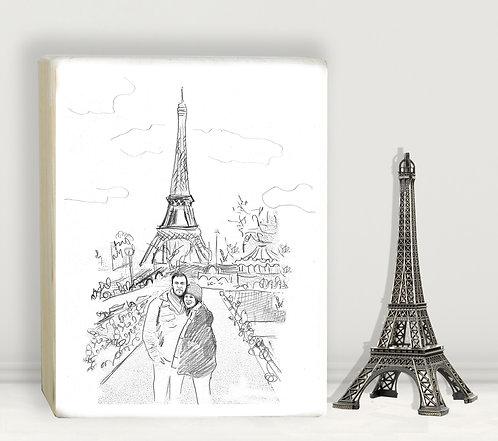 Paris custom black&white illustration print on white wood block