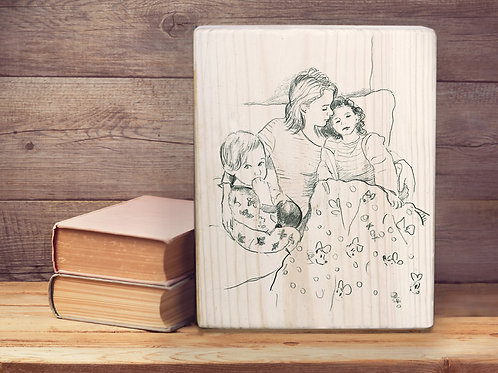 Custom black and white illustration on wood block