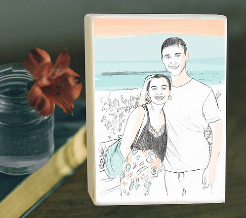 Couple custom b&w with color highlight illustration print on white wood block