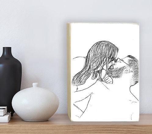 Kiss custom black&white illustration print on white wood block