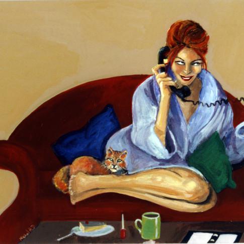 Women and Cat