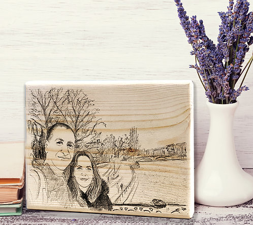 Travel custom black&white illustration print on natural wood block