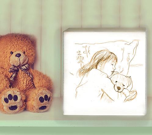 Teddy custom black & white illustration print on white wood block