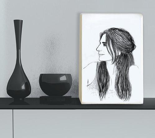 Portrait custom black&white illustration print on white wood block