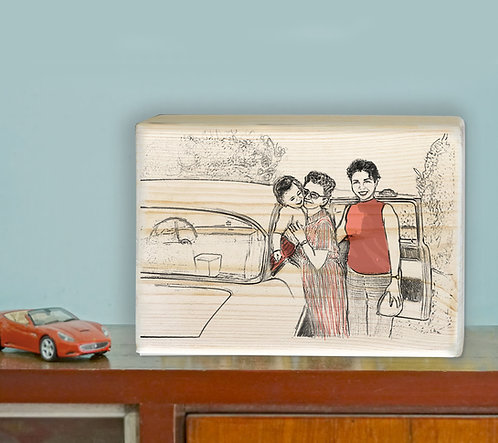 Family custom b&w with color highlight illustration print on natural wood block