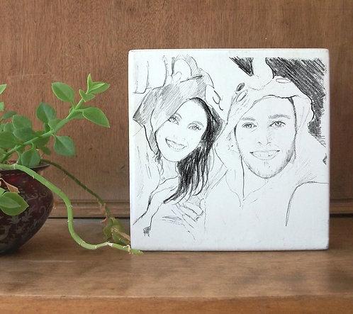 Selfie custom black&white illustration print on white wood block