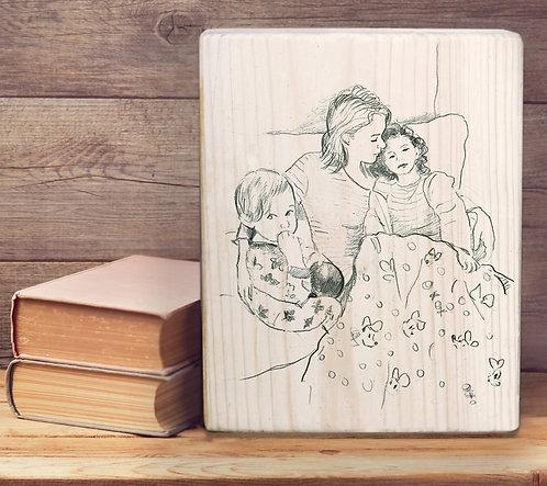 Mother custom black&white illustration print on natural wood block