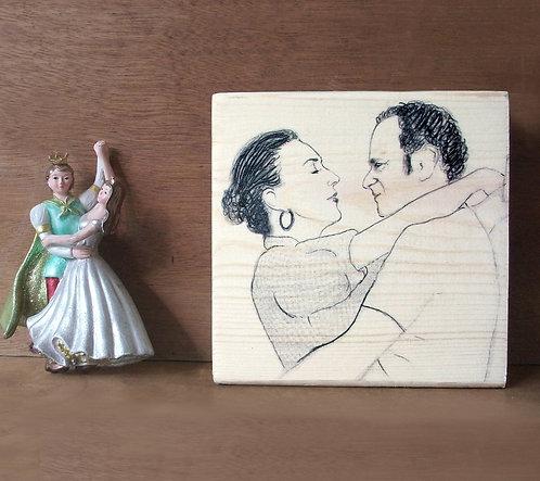 Couple custom black&white illustration print on natural wood block