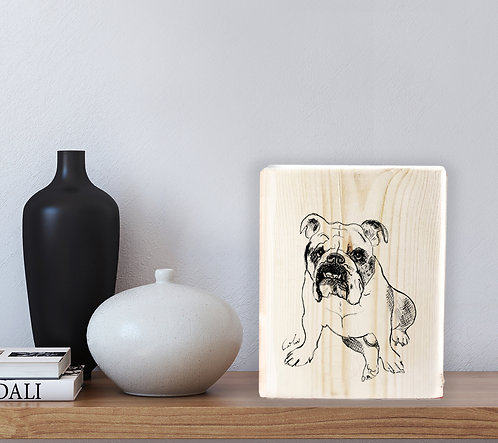 Bulldog custom black&white illustration print on natural wood block