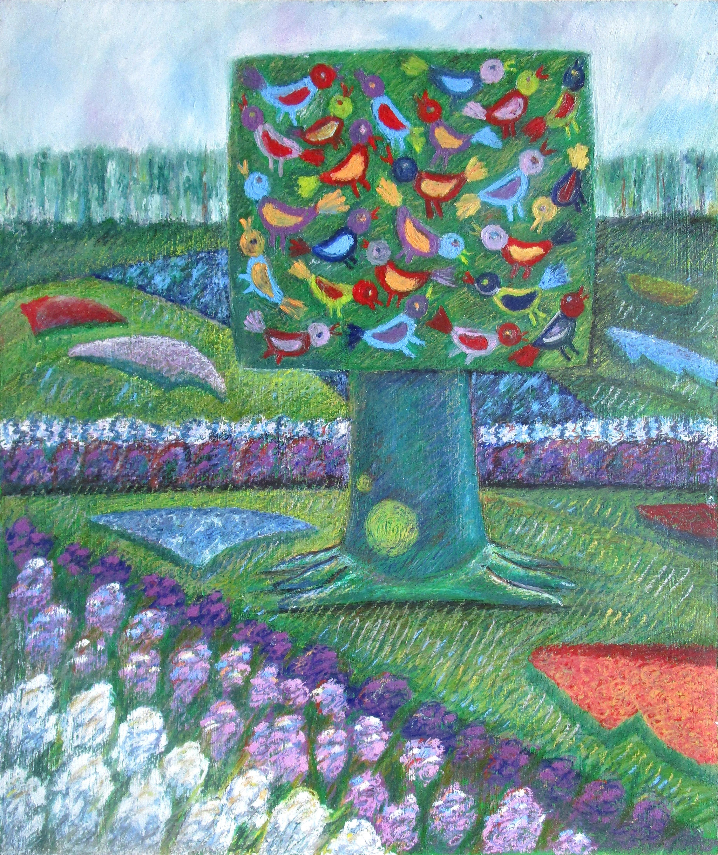 Кёкенхоф парк. Дерево с птицами