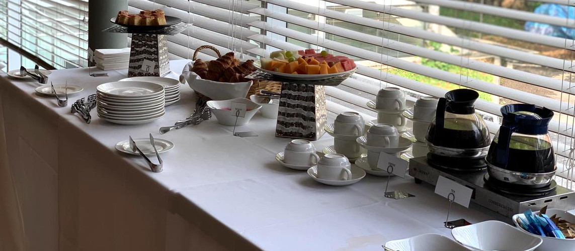 The Masons Table Breakfast seminar set up
