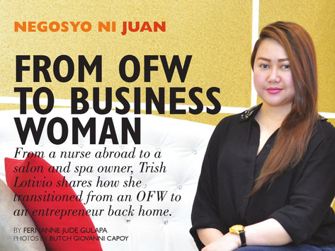 FROM OFW TO BUSINESS WOMAN: From a nurse abroad to a salon and spa owner.