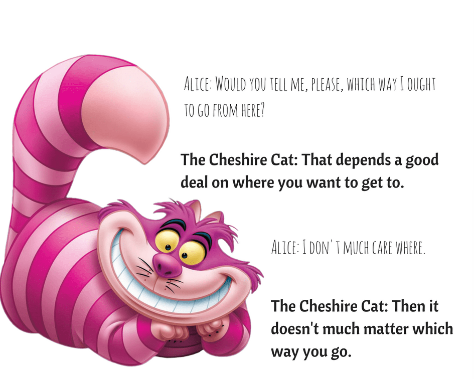 The Cheshire Cat. Then it doesn't much matter which way you go.