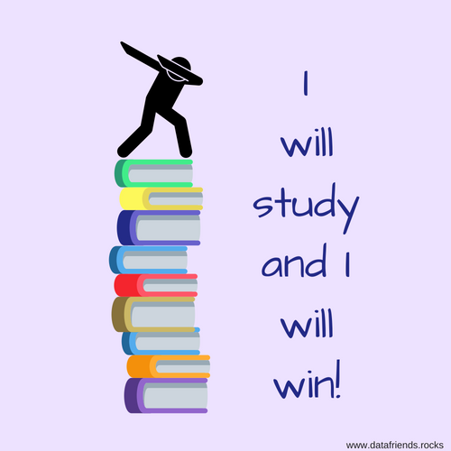 Man dancing on books. I will study and I will win!