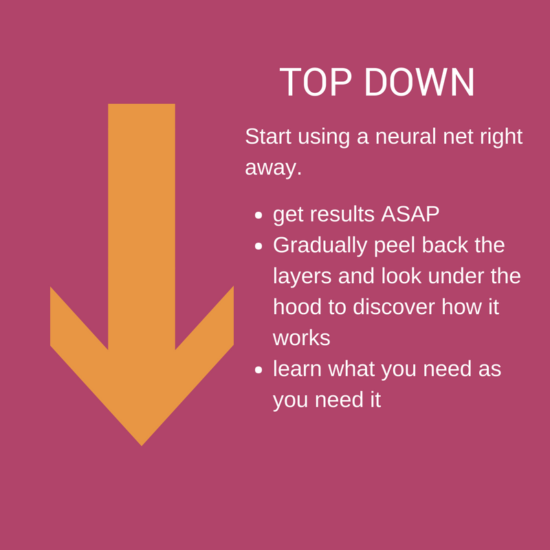 Top Down. Start using a neural net right away. Get results ASAP, gradually peel back the layers and look under the hood to discover how it works, learn what you need as you need it.
