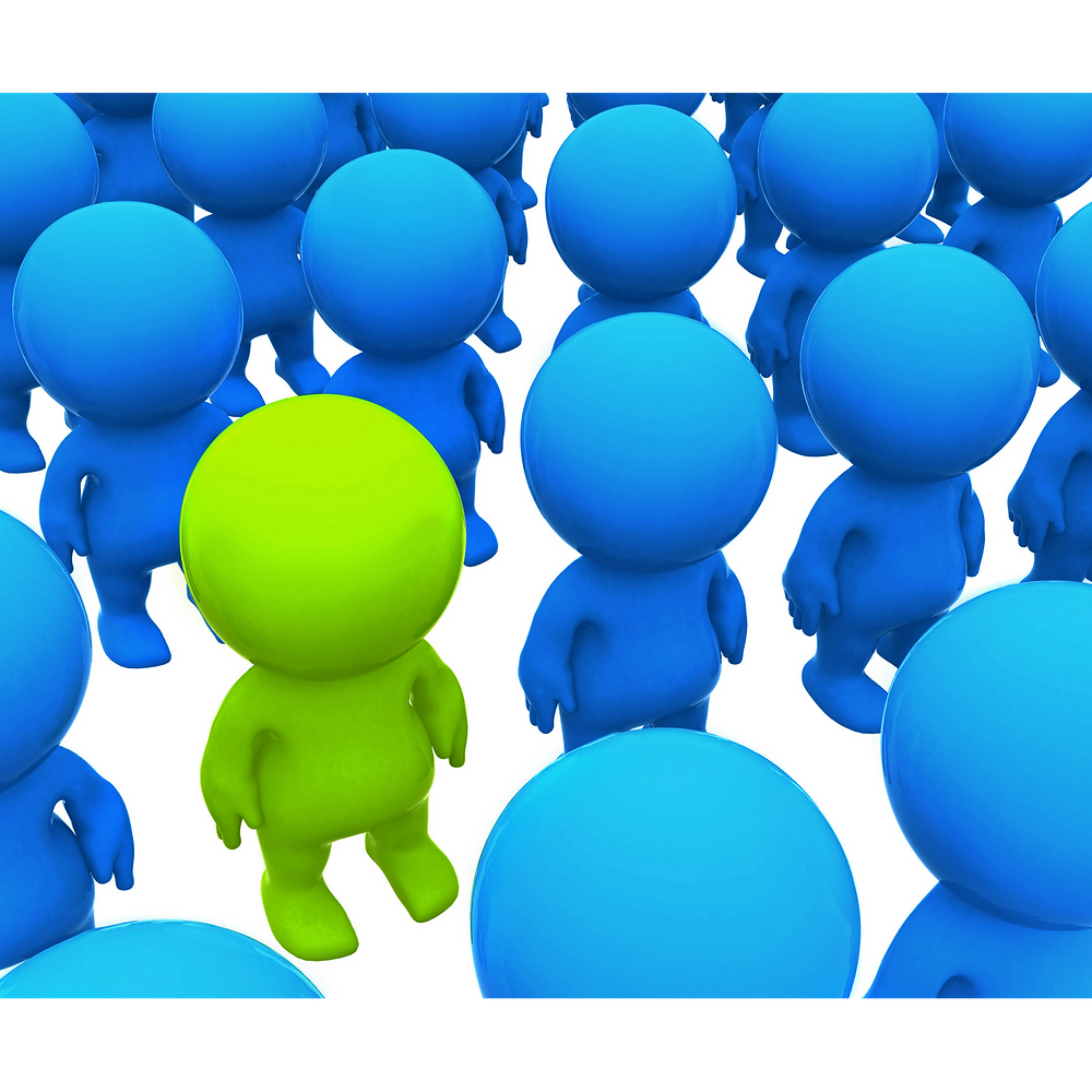 stand out from the crowd. Green person among blue.