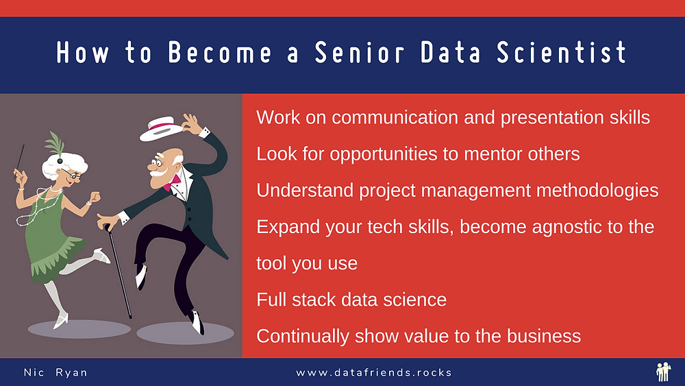 How to Become a Senior data scientist. Two elderly people dancing