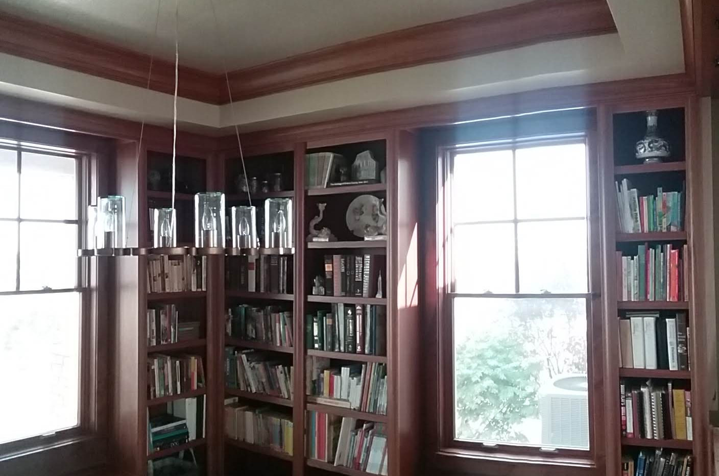 Built in library walls & window seats