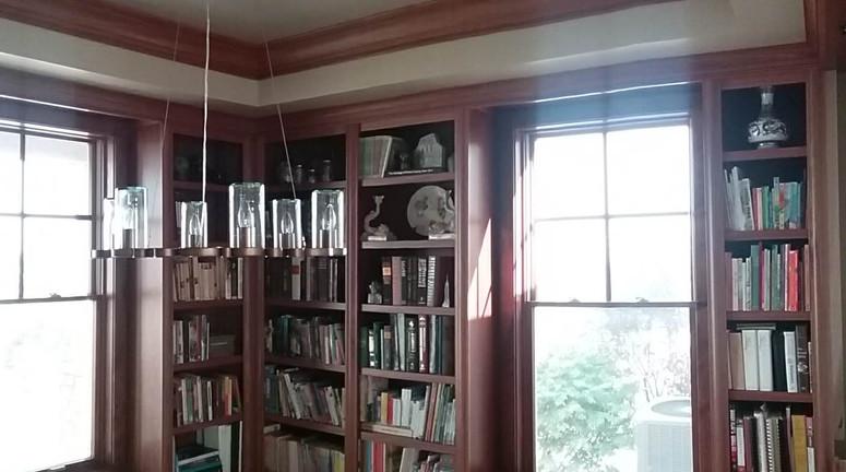 Built in library walls & window seats
