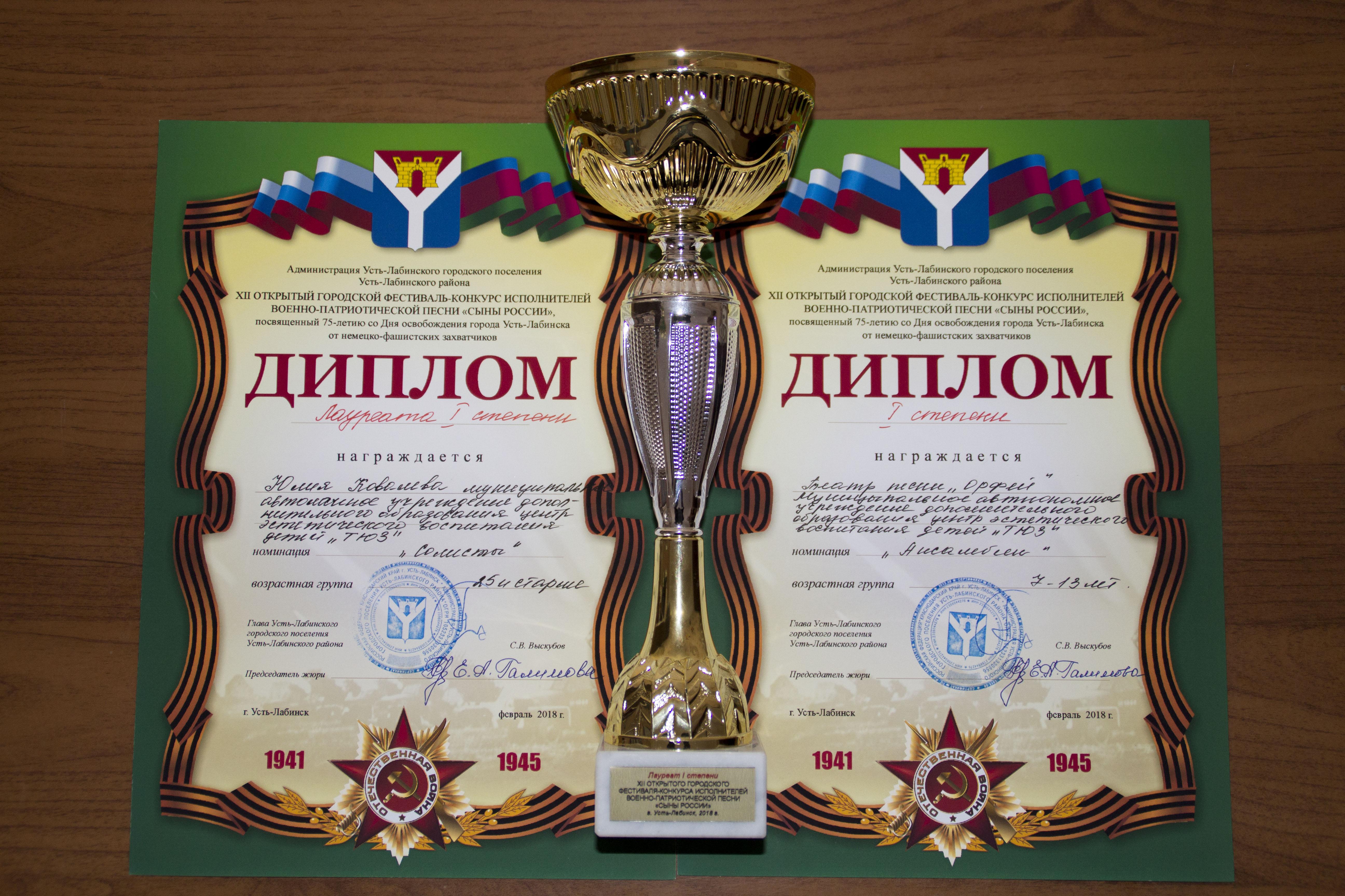 Кубок-диппломы Ковалева