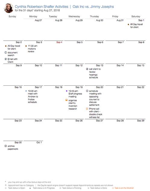 Project's Activities Calendar - DL315