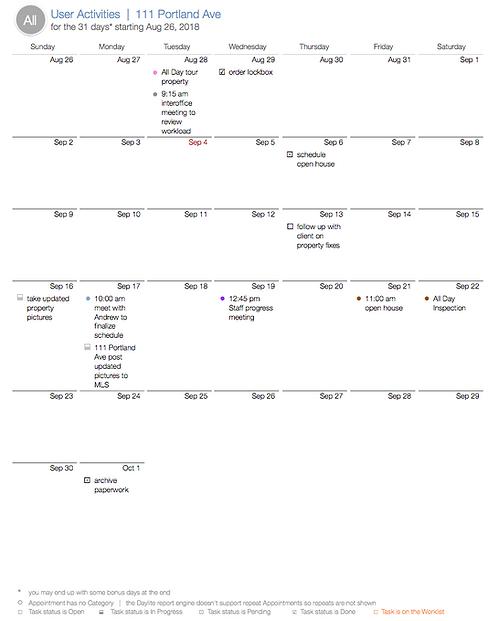 Opportunity's Activities Calendar - DL438