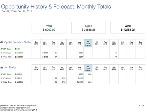 Opportunity History & Forecast: Monthly Totals by Owner - DL430