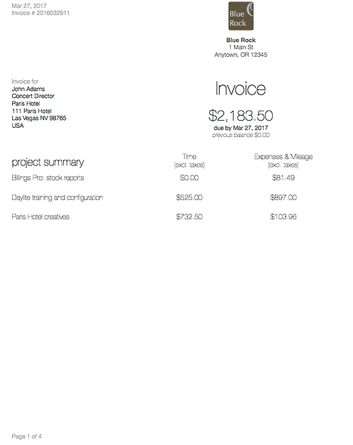 Invoice template: Slips Grouped by Project - BP114
