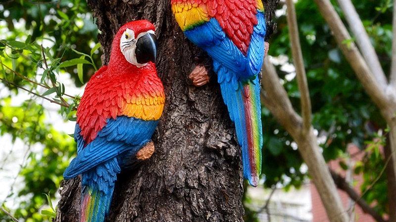 Resin Parrot Statue Wall Mounted DIY Outdoor Garden