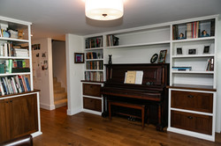 Library Cabinetry around Piano