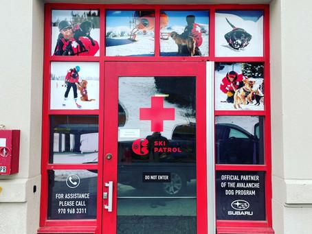 Copper ski patrol vinyl windows prints.