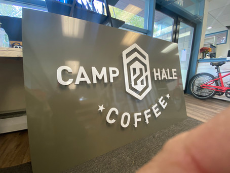Layered Acrylic Signs for Camp Hale coffee shop at Copper Mountain Colorado