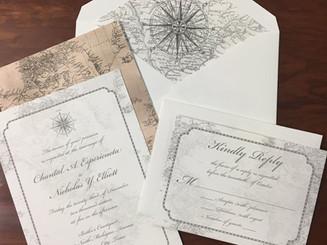 World Map Themed Wedding Invitation