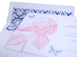 Floral Themed Letterpress Birthday Invitation