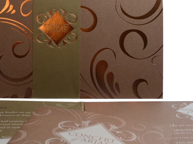 Copper Foil Stamped Invitation - Close Up