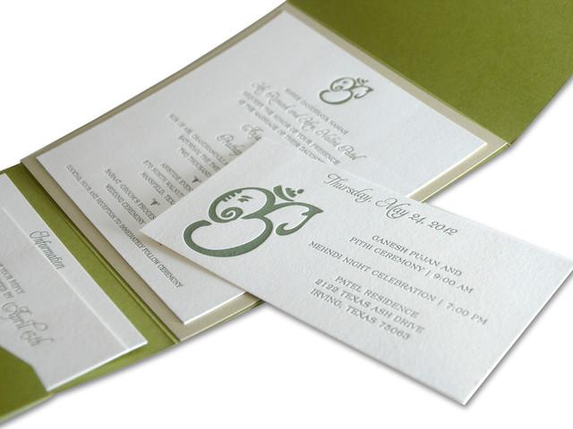 Indian Themed Letterpress Wedding Invitation