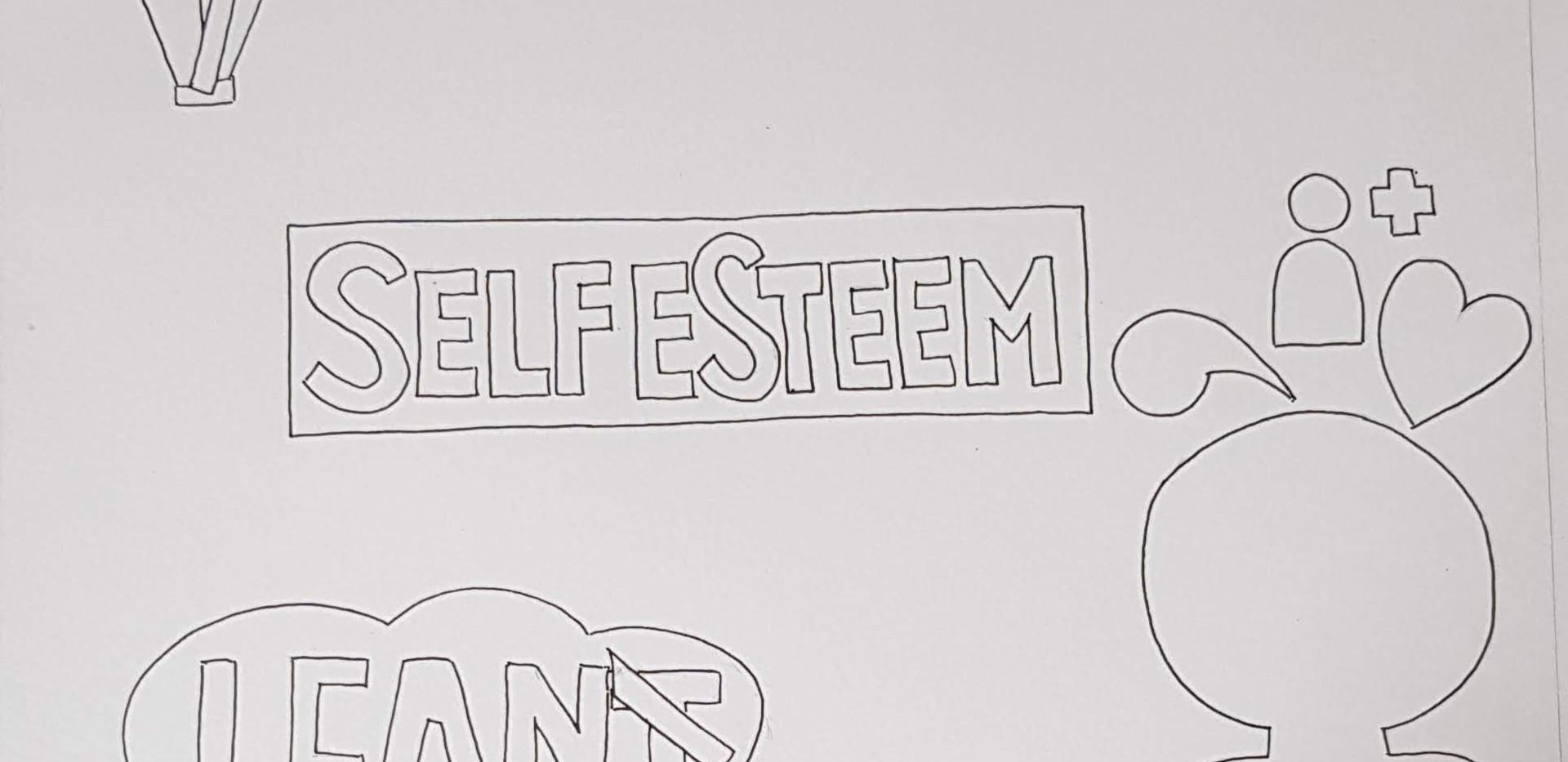 Self esteem colouring page design