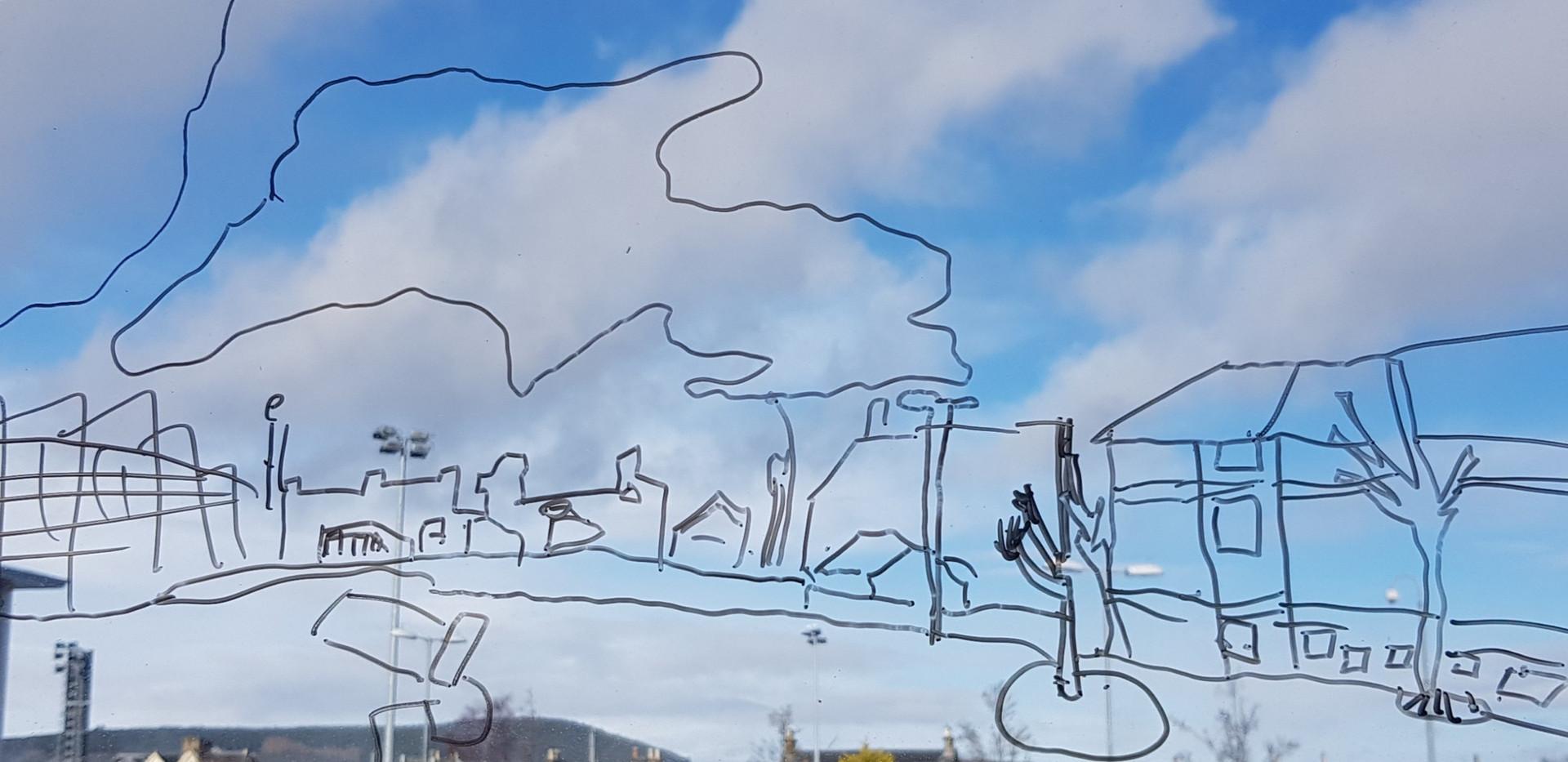 Drawing on school window