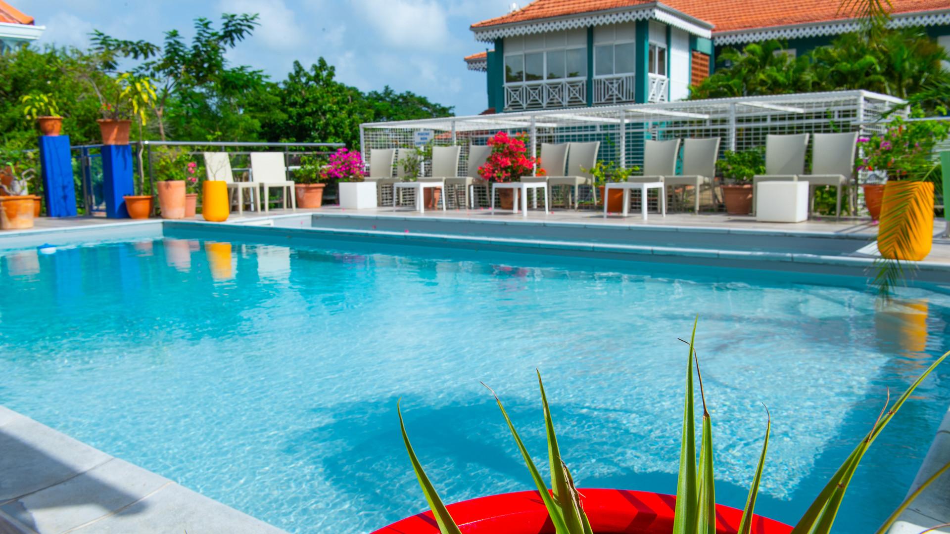 La piscine d l'Hôtel Frégate Bleue en Martinique