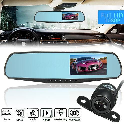 1080P HD Dual Lens Car DVR Dash Cam Video Recorder+ Rear View Mirror Back Camera