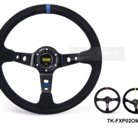 Steering Wheel Race Suede Leather 350mm Yellow/Red/Blue