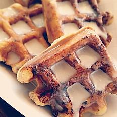 Cinnamon Roll Waffle Bites