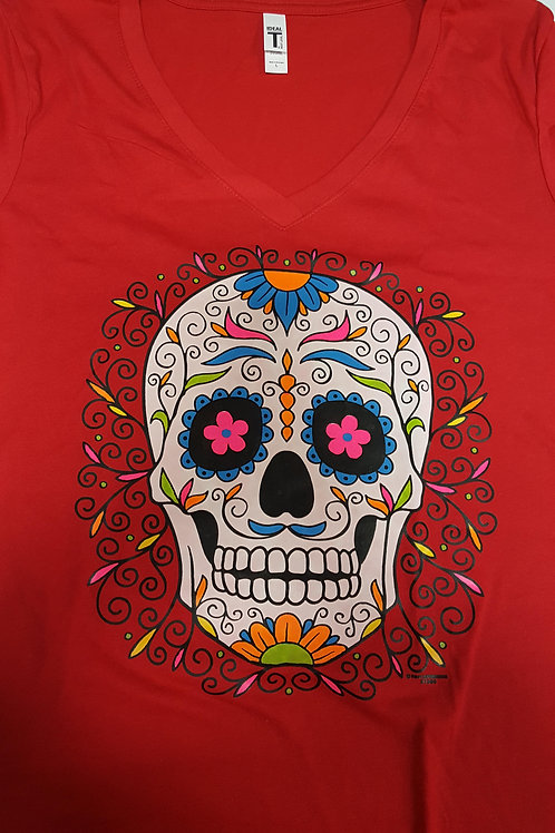 Red Day of The Dead V-Neck