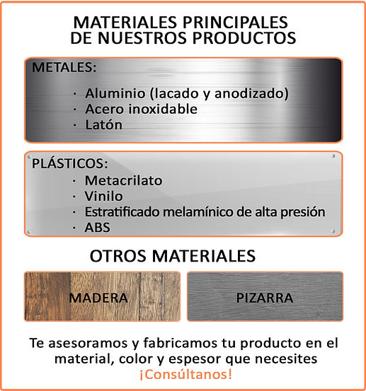 Esaav. Materiales: aluminio, inox., metacrilato, vinilo, ABS,...