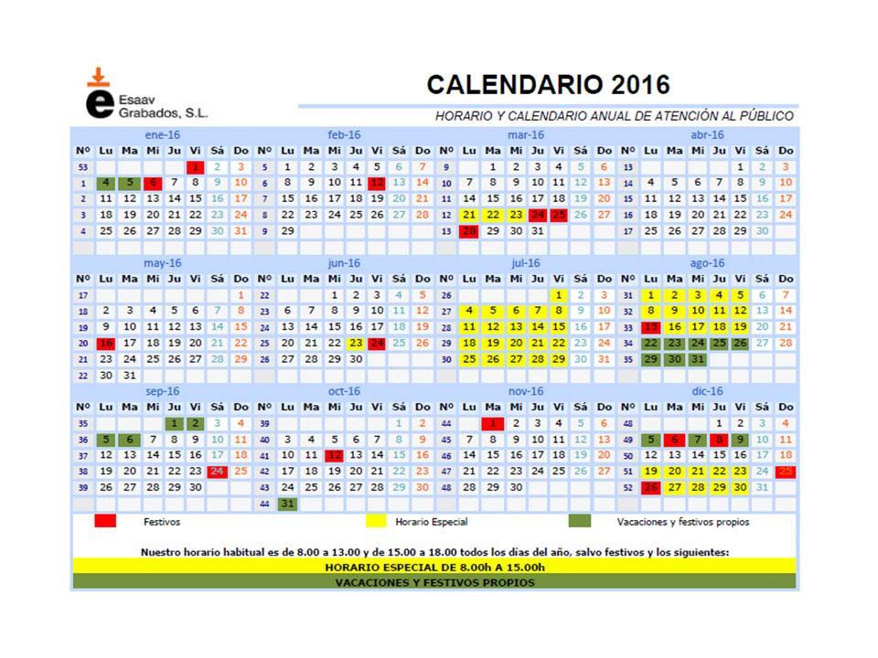 calandario 2016 ESAAV GRABADOS